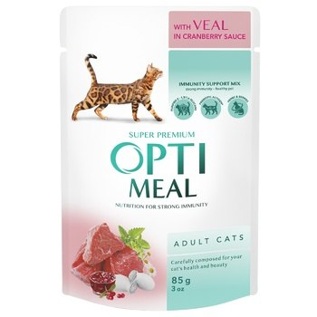 Консерва Optimeal для взр.кошек с телятиной в клюквенном соусе, 85г