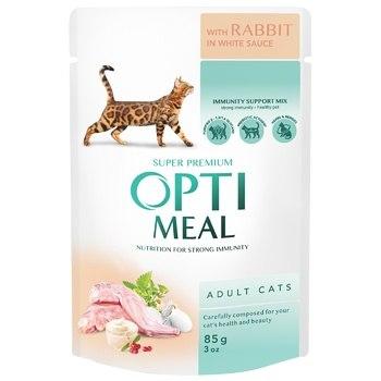 Консерва Optimeal для взр.кошек с кроликом в белом соусе, 85г