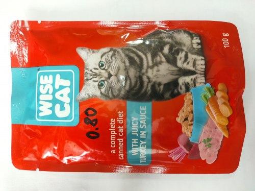 Консерва Wise Cat для кошек, с индейкой в соусе, 100г