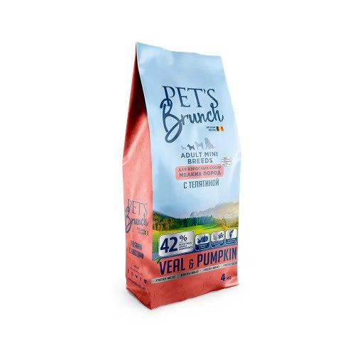 Сухой корм Pet's Brunch для взрослых собак мелких пород, с ТЕЛЯТИНОЙ, 4 кг
