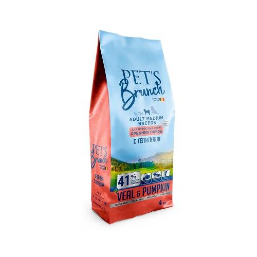 Сухой корм Pet's Brunch для взрослых собак средних пород, с ТЕЛЯТИНОЙ, 4 кг