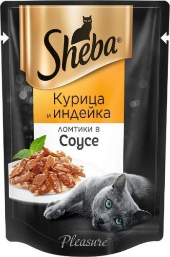 Консерва Sheba Pleasure для взрослых кошек. Ломтики в соусе. Курица/индейка 85г