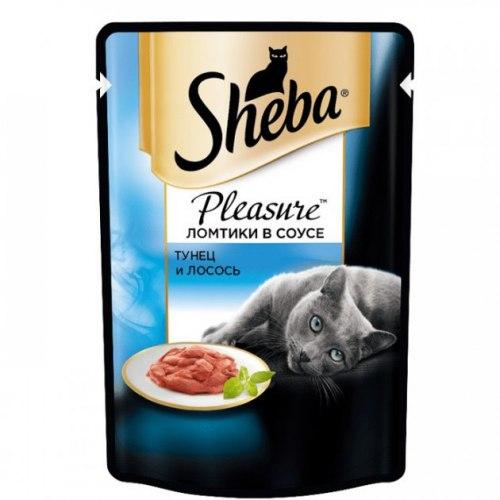 Консерва Sheba Pleasure для взрослых кошек. Ломтики в соусе. Лосось 85г
