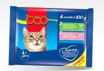 Консерва В НАЛИЧИИ Teo для кошек с форелью и лососем, 4 шт*100г