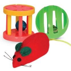 Набор игрушек для кошек В НАЛИЧИИ Triol мяч,мышь, барабан