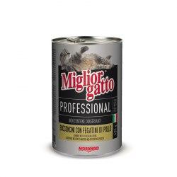 Консерва В НАЛИЧИИ Miglior gatto Professional для кошек кусочки с куриной печень, 405г