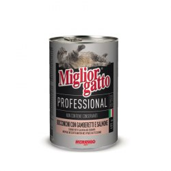 Консерва В НАЛИЧИИ Miglior gatto Professional креветки/лосось, 405г