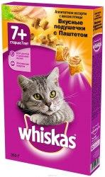 Сухой корм Whiskas Подушечки для кошек старше 7 лет паштет с птицей, 350г