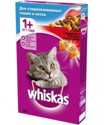 Сухой корм Whiskas Подушечки с говядиной для стерелизованных кошек и кастрированых котов, 350г