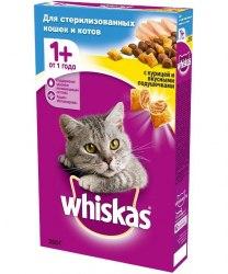 Сухой корм Whiskas Подушечки с курицей для стерелизованных кошек и кастрированых котов, 350г