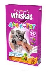 Сухой корм Whiskas Подушечки для котят, молочная индейка с морковью 350г