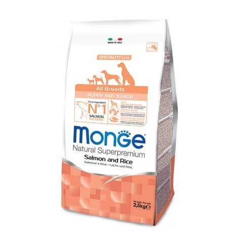 Сухой корм В НАЛИЧИИ Monge Dog PFB Puppy & Junior Salmon&Rice 31/18 2,5кг