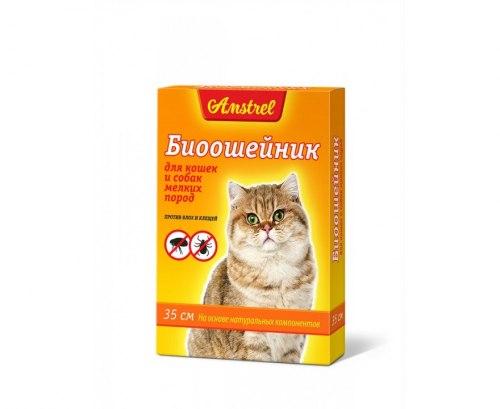 БИОошейник В НАЛИЧИИ Amstrel для мелких собак и кошек, от блох и клещей, 35 см