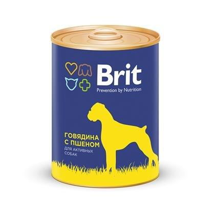 Консерва В НАЛИЧИИ Брит для собак, говядина с пшеном, 850г