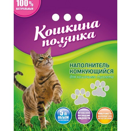 Наполнитель В НАЛИЧИИ Кошкина Полянка комкующийся бентонитовый 3 кг