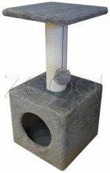 Когтеточка-домик серая,высота 74 см домик 32*32 см