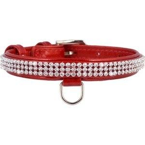 Ошейник В НАЛИЧИИ Collar Brilliance с украшением полотно стразы (ш 9мм, д 18-21 см), красный