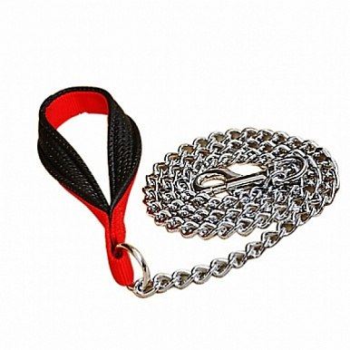 Поводок-цепочка TRIXIE из металла 1м/3мм, с нейлоновой петлей для руки, черный/красный