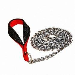 Поводок-цепочка В НАЛИЧИИ TRIXIE из металла 1м/3мм, с нейлоновой петлей для руки, черный/красный