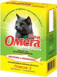 Витаминное лакомство В НАЛИЧИИ Омега Нео с протеином и L-карнитином для кошек, 90 таб.
