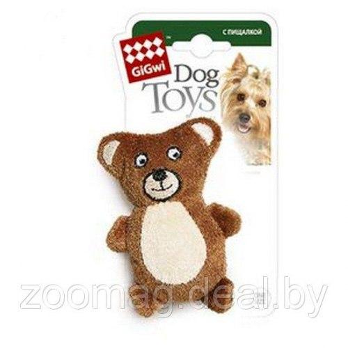 Игрушка В НАЛИЧИИ Gigwi для собак Медведь, с пищалкой, плюш 9см