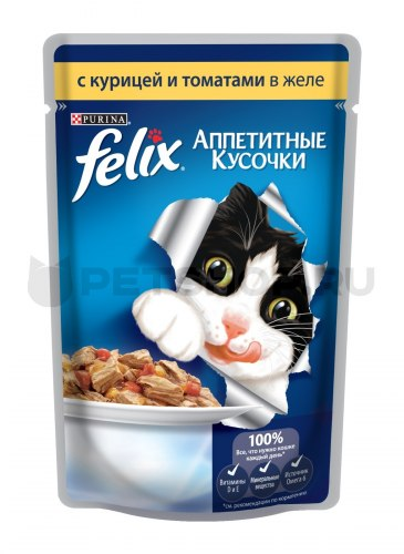 Консерва В НАЛИЧИИ Felix с курицей и томатами в желе, 85 г