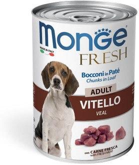 Консерва В НАЛИЧИИ Monge Vitello fresh chunks, мясной рулет с телятиной для взрослых собак, 400г