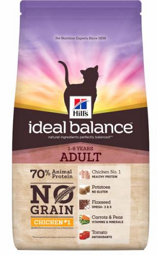 Сухой корм Hill's Ideal Balance No Grain натуральный беззерновой сухой корм для кошек с курицей и картофелем 1,5 кг