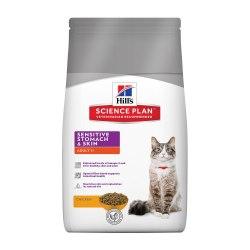 Сухой корм Hill's Science Plan Sensitive Stomach & Skin сухой корм для кошек для здоровья кожи и пищеварения с курицей 1,5кг