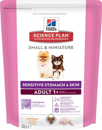 Сухой корм Hill's Science Plan Sensitive Stomach & Skin сухой корм для собак мелких и миниатюрных пород с курицей 300 г