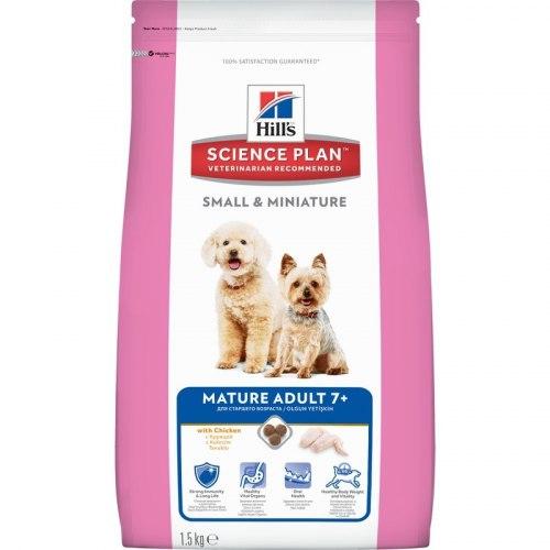 Сухой корм Hill's Science Plan Small & Miniature сухой корм для собак мелких и миниатюрных пород старше 7 лет с курицей 1,5 кг