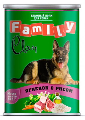 Консерва В НАЛИЧИИ Clan Family ягненок с рисом 970г