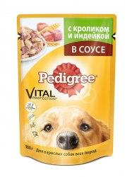 Консерва В НАЛИЧИИ Pedigree® для собак всех пород с кроликом и индейкой в соусе, 100