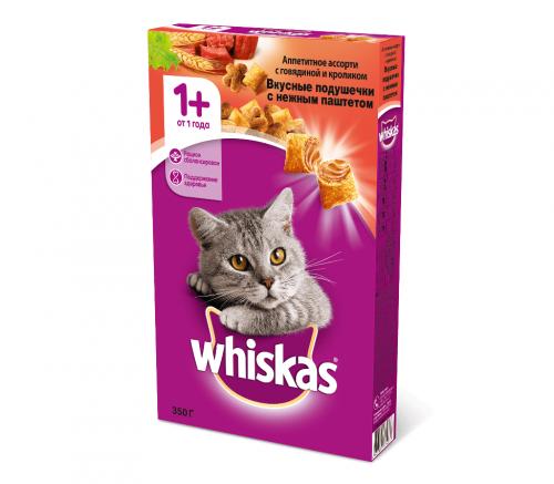 Сухой корм Whiskas Вкусные подушечки с нежным паштетом (говядина и кролик), 350г