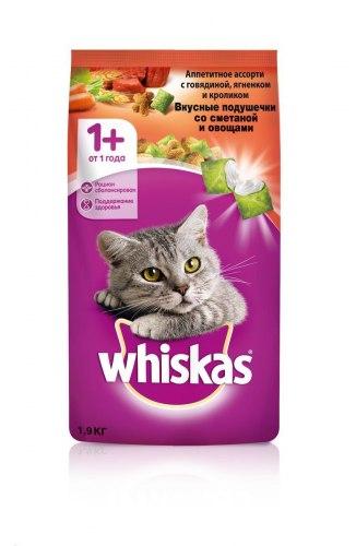 Сухой корм Whiskas Вкусные подушечки с нежным паштетом (говядина и кролик), 1,9кг