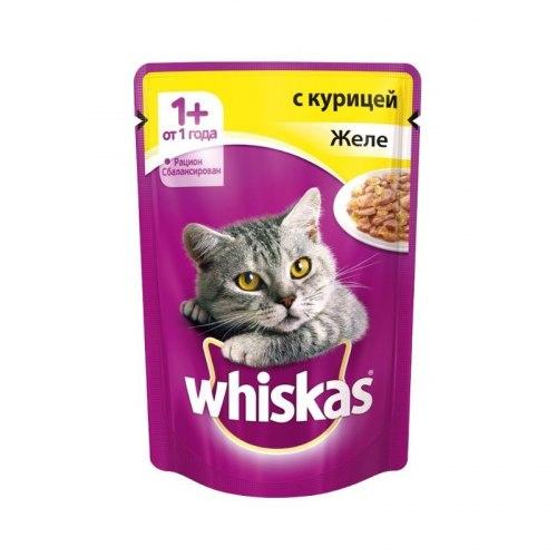 Консерва В НАЛИЧИИ Whiskas для взрослых кошек, курица в желе 85г