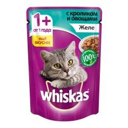 Консерва В НАЛИЧИИ Whiskas для взрослых кошек с кроликом и овощами 85г