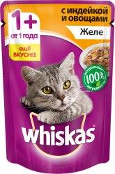 Консерва В НАЛИЧИИ Whiskas для взрослых кошек с индейкой и овощами 85г