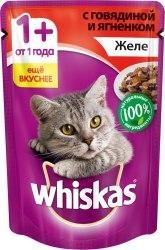 Консерва В НАЛИЧИИ Whiskas для взрослых кошек, с говядиной и ягненком 85г