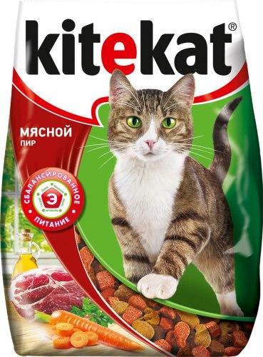 Сухой корм В НАЛИЧИИ Kitekat для взрослых кошек Мясной пир 350г