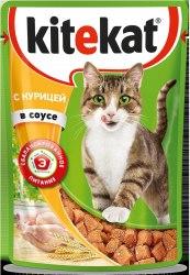 Консерва В НАЛИЧИИ Kitekat для взрослых кошек с курицей в соусе 85г