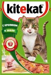 Консерва В НАЛИЧИИ Kitekat для взрослых кошек с кроликом в желе 85г