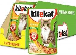 Консерва В НАЛИЧИИ Kitekat для взрослых кошек с курицей в желе 85г