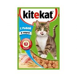 Консерва В НАЛИЧИИ Kitekat для взрослых кошек с рыбой в соусе 85г