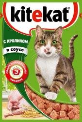 Консерва В НАЛИЧИИ Kitekat для взрослых кошек с кроликом в соусе 85г