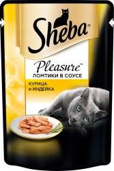 Консерва В НАЛИЧИИ Sheba Pleasure для взрослых кошек. Ломтики в соусе. Курица и индейка.85г