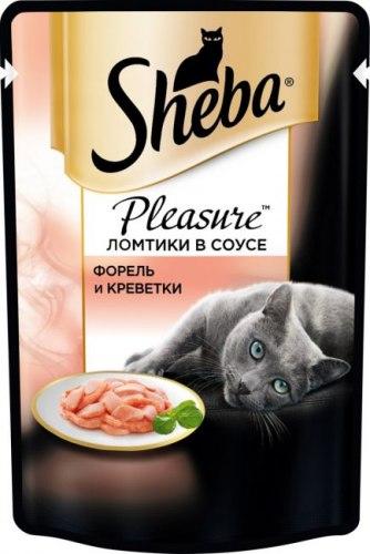 Консерва Sheba Pleasure для взрослых кошек. Ломтики в соусе. Форель и креветки 85г