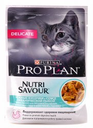 Консерва В НАЛИЧИИ Pro Plan для взросл.кошек с чувств.пищеварением или особым предпочтением в еде, с океанической рыбой, 85г