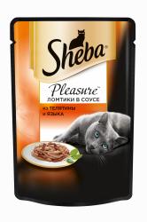 Консерва Sheba Pleasure для взрослых кошек. Ломтики в соусе. Телятина с языком.85г
