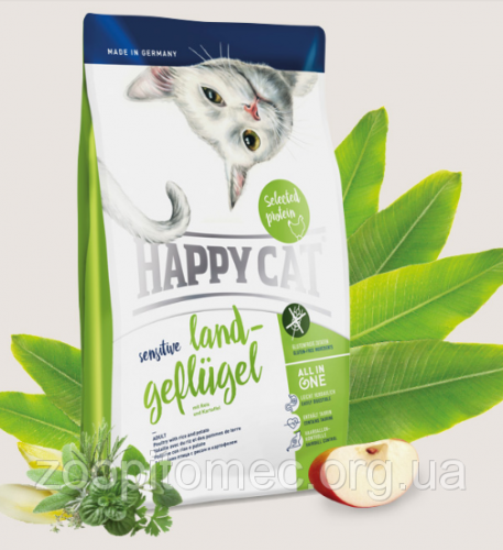 Сухой корм Happy Cat Sensitive Land-Geflügel 4 кг